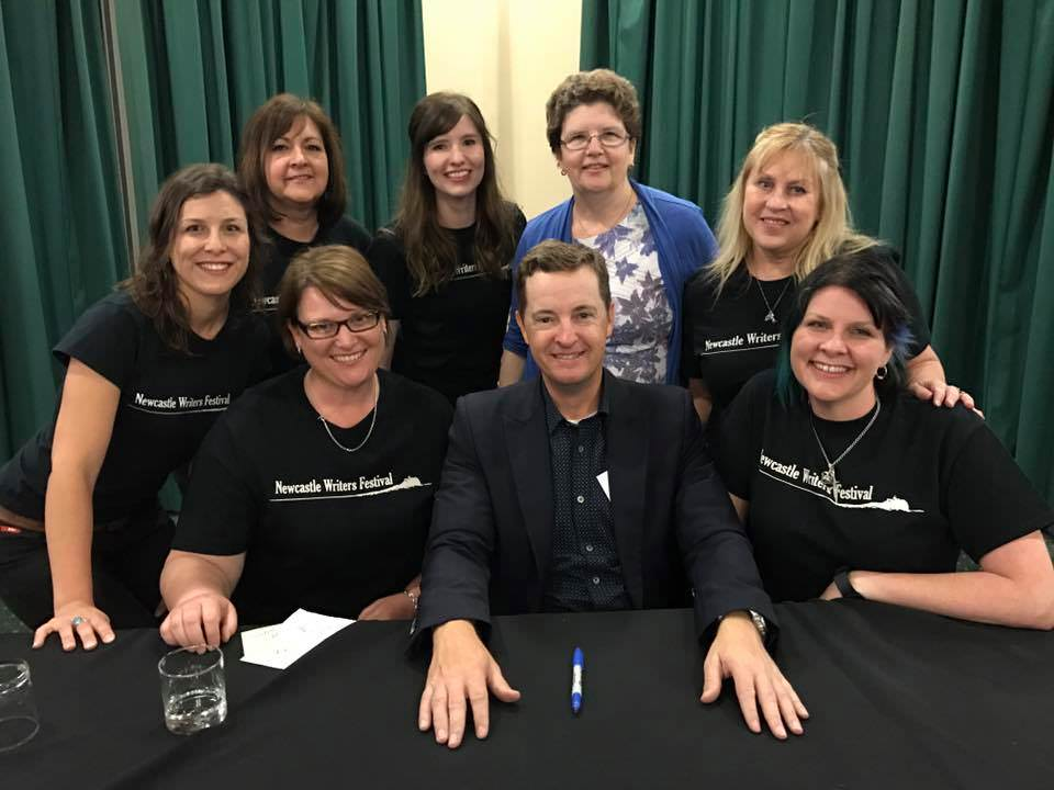 Matthew Reilly and volunteers